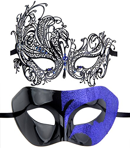 IETANG Couples Pair Half Venetian Masquerade Ball Masks Set Party Costume Accessory (Blue) by IETANG