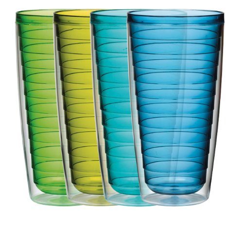 Boston Warehouse 24-Ounce Tumbler, Set, Set of 4, Cool Tones