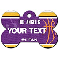BRGiftShop Personalize Your Own Basketball Team Los Angeles Purple and Gold Bone Shaped Metal Pet ID Tag with Contact Information