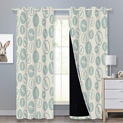 PONY DANCE Artistic Print Curtains - Room Decor 95 Inches Tree Complete Blackout Window Treatment Modern Style Black Liner Curtain Panel for Media Room/Woodland, Beige/Grey Mist, 52