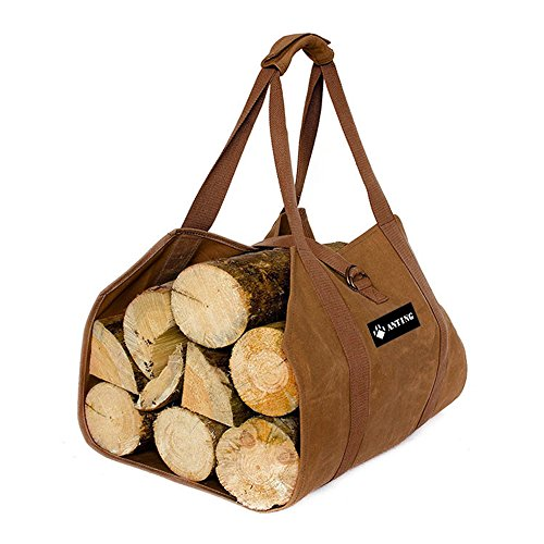 ANTING Waxed Canvas Firewood Log Carrier Fireplace Wood Tote Bag Holder with Padded Velcro Easy Grip Handle for Camping by ANTING