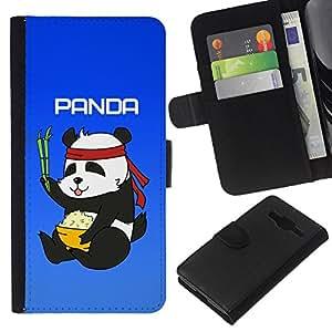 KingStore / Leather Etui en cuir / Samsung Galaxy Core Prime / Panda Chinese Food Rice bambú Oso lindo