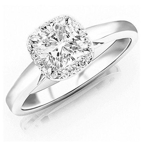 0.85 Ctw 14K White Gold GIA Certified Cushion Cut Classic Prong Set Halo Style Diamond Engagement Ring, 0.75 Ct I-J VS1-VS2 Center