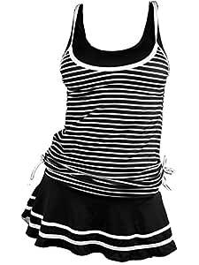 MiYang Women's Tankini Striped Vintage Swim Dress, Black (Black) - YZ5505K0-L
