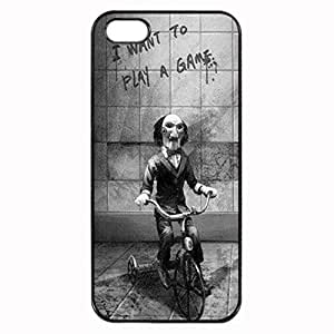 Saw Clown ~ iPhone 4 4S Rubber Tpu Case ~ Silicone Patterned Protective Skin Rubber Case Cover for Apple iPhone 4 4S - Haxlly Designs- Black Case