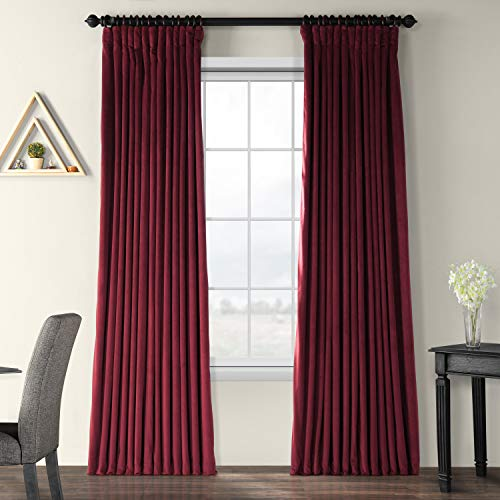 Burgundy Velvet Curtains - Half Price Drapes VPCH-VET1216-84 Signature Doublewide Blackout Velvet Curtain, Burgundy, 100 X 84
