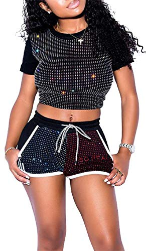 Lucuna Women Sexy Fashion Glitter Sequins Bodycon 2 Piece Outfits Crop Top & Short Pants with Drawstring