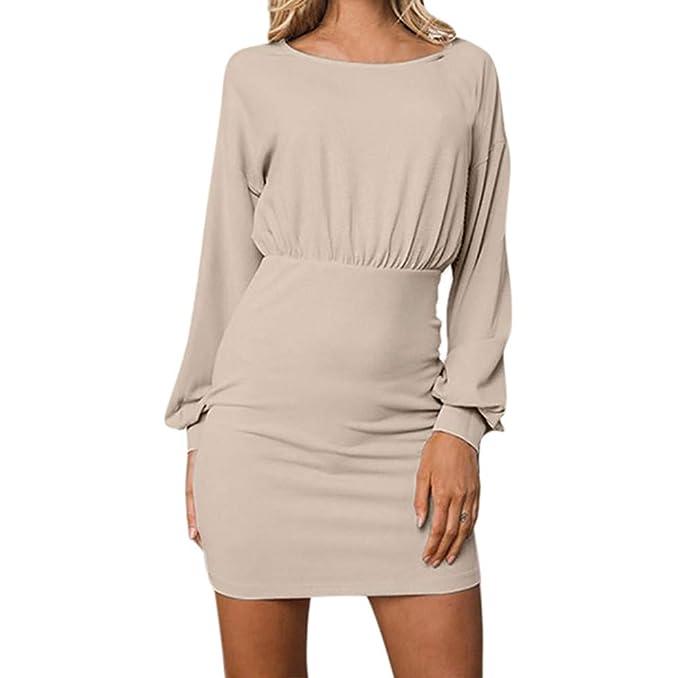 Longra Abito a Maniche Lunghe Autunno Donna Business Dress Donna Moda  Vestiti da Sera Eleganti Corto Vestito Manica Lunga Rotondo Collo Abito  Camicetta  ... 9d8d120c39d