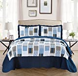 Mk Collection 3pc King/California King Oversize Reversible Quilted Bedspread Set Striped Squares Navy Blue White Gray New