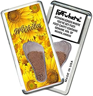 """product image for Wichita, KS """"FootWhere"""" Souvenir Fridge Magnet. Made in USA (WCT204 - Sunflowers)"""
