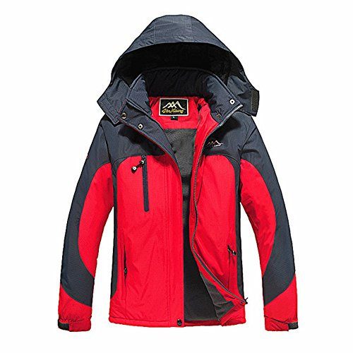 PokeCS Women Heated Jacket Windbreaker Auto-Heated Winter Coat with USB Charged,Waterproof Windproof Coat with Detachable Hood for Outdoor Sports Climbing, Camping, Riding, Snowboarding,Red