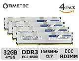 Timetec Samsung 32GB KIT (4x8GB) DDR3 1066MHz PC3-8500 Registered ECC 1.5V CL7 4Rx8 Quad Rank 240 Pin RDIMM Server Memory Ram Module Upgrade (Server Only, Not for Desktop/Laptop)( 32GB KIT (4x8GB))