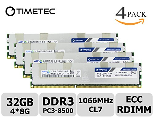 Vlp Server Memory (Timetec Samsung 32GB KIT (4x8GB) DDR3 1066MHz PC3-8500 Registered ECC 1.5V CL7 4Rx8 Quad Rank 240 Pin RDIMM Server Memory Ram Module Upgrade (Server Only, Not for Desktop/Laptop)( 32GB KIT (4x8GB)))