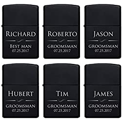 Set of 6 - Personalized Lighter, Groomsmen Gifts - Gift Idea for Wedding Favor Customized Lighter Set w Black Tin, Matte Black #4