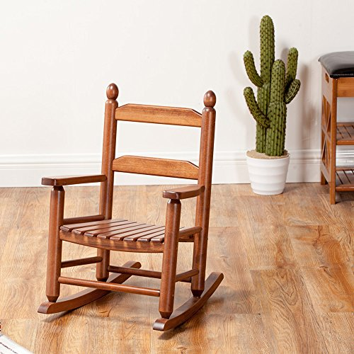 Child's Rocking Chair Porch Rocker Double Slat Back Rocking Chair Seat Solid Wood Classic- Indoor/Outdoor(KD-20N, OAK) (Chair Slat Wood Rocking)
