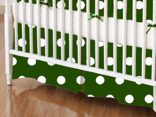 SheetWorld - Crib Skirt (28 x 52) - Polka Dots Hunter Green - Made In USA