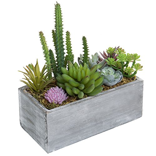 MyGift 8-Inch Assorted Faux Succulent Plant Arrangement in Wooden Planter Box - Box Wooden Planter Make