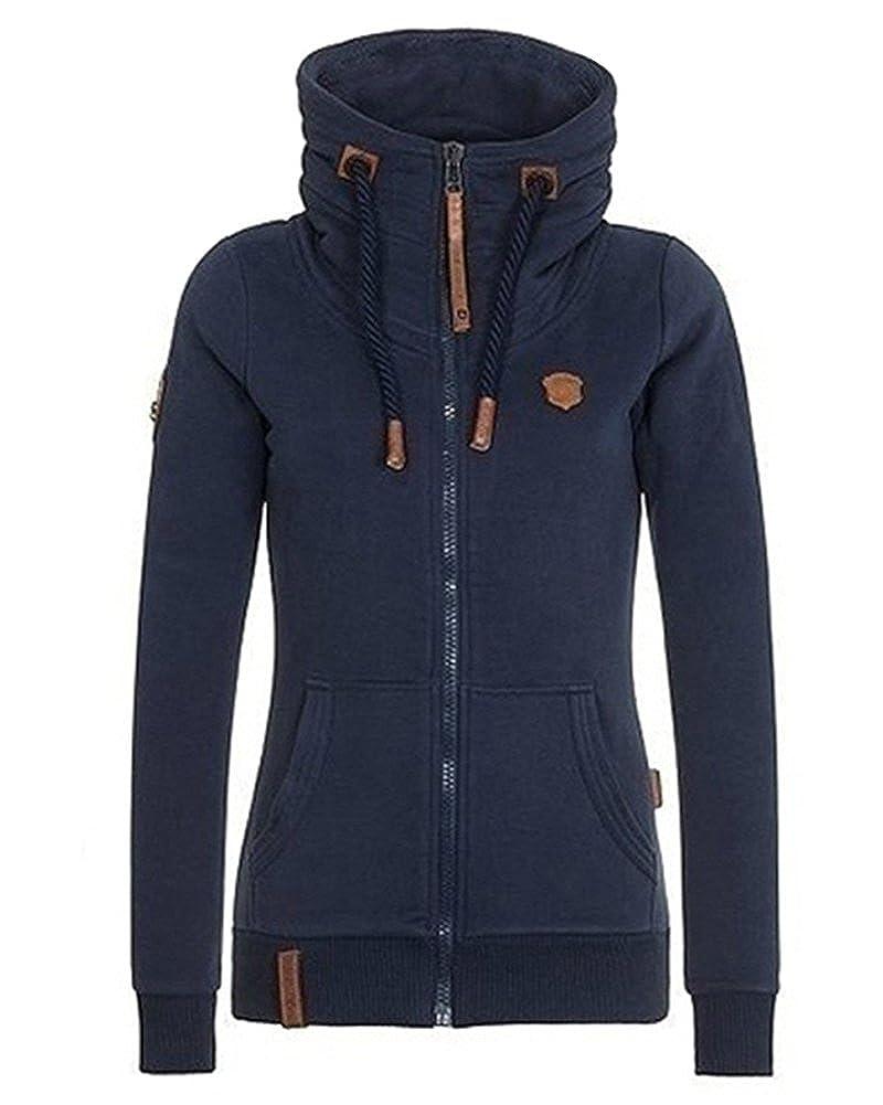 ShallGood Femmes Automne Hiver Sweats /à Capuche Veste Mode Casual Manche Longue Outerwear Oblique Zipper Manteau Hoodies Zip Pulls