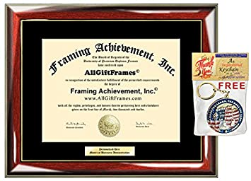 personalized gold or silver engraved plate university diploma frame glossy prestige mahogany with gold accents - Diploma Framing