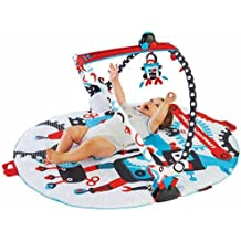 Baby Gym And Play Mat - 3 Stage Accessory Gym With Motorized Robot Track - 20 Development Activities