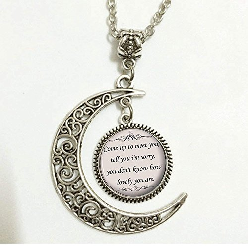 The Scientist Song Lyrics Quote,Charm Crescent Moon Quote Necklace,Romantic Music Pendant,Gift for Women and Girls