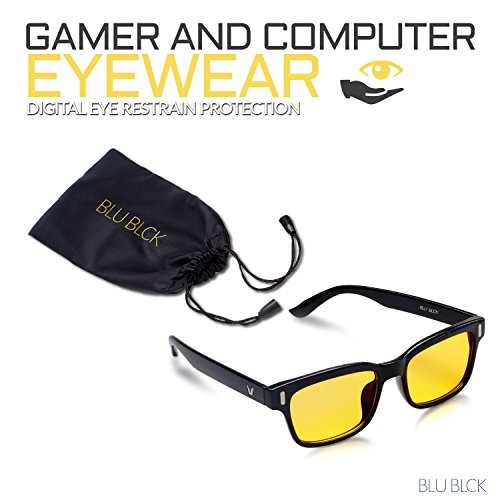 Blue-light Blocking Eye-wear glasses to improve sleep, helps with eyestrain from Cellphone/Computer LCD and LED, Anti Fatigue Blocking Headaches, Unisex Glasses (Black - See Prices Eyewear