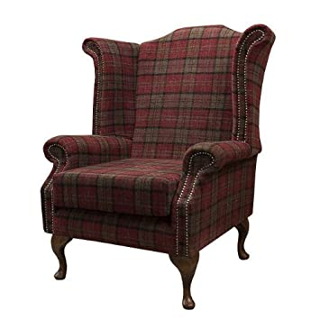 Merveilleux Armchair In A Red Tartan Fabric Amazon Co Uk Kitchen Home