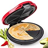 NOSTALGIA EQM10 10-Inch 6-Wedge Electric Deluxe Quesadilla Maker with Stuffing Latch, 10 inch, Red