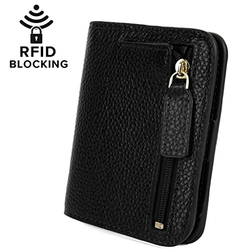YALUXE Women's RFID Blocking Small Compact Bi-fold Leather Pocket Wallet Black RFID