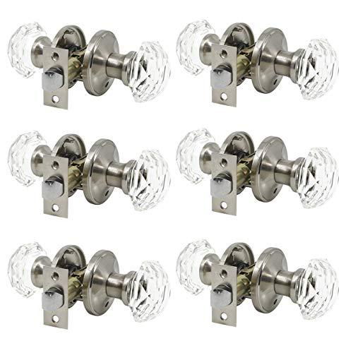 Cystal Class Door Knob 6 Pack, Heavy Duty Satin Nickel Privacy Door Knob Sets, Bedroom/Bathroom Interior Door Handles with Euro Classic Rosette Design