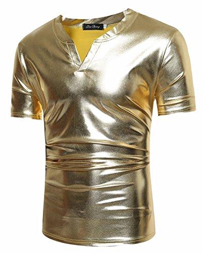 CIC Collection Men's Metallic T Shirt Tee Slim Fit V Neck Short - Near Las Shopping Vegas
