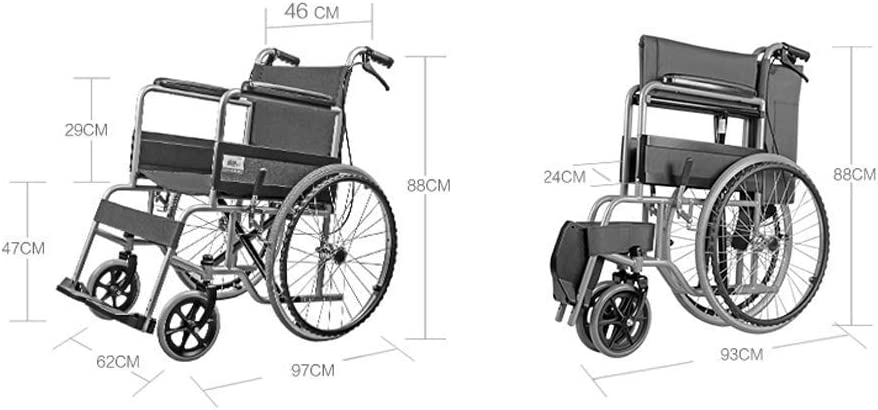 Bybd Carro Médico Carro de Tratamiento Vehículo Médico Vehículo Quirúrgico Carro Médico Plegable Manual Portátil Carro de Silla de Ruedas para Ancianos Viaje para Discapacitados Ultra Móvil Scooter P