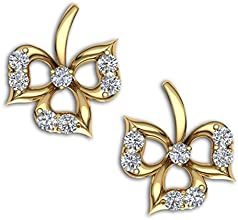 Kirtilals 18k Two color Gold and Diamond Stud Earrings