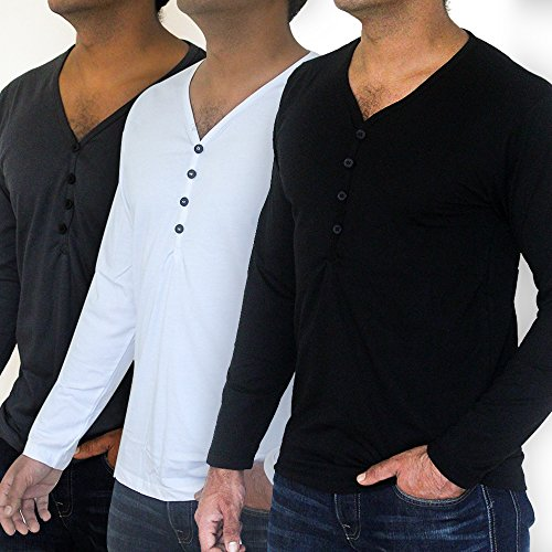 QZS Clothing Men's Economy Pack of Three Deep Neck T-Shirts by