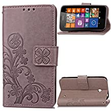 630 635 Case, Lumia 630 635 Case, SATURCASE Lucky Clover PU Leather Flip Magnet Wallet Stand Card Slots Case Cover for Nokia Lumia 630 635 (Gray)