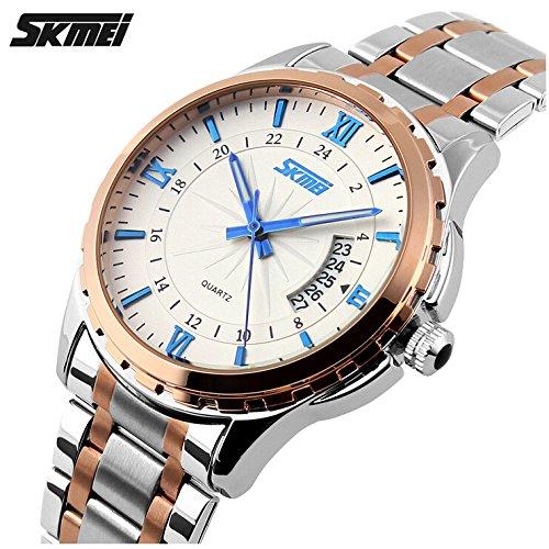 Relojes hombres marca de lujo reloj cuarzo analógico acero inoxidable Pulsera Impermeable Hombre Casual Relojes Relogio Masculino: Amazon.es: Relojes