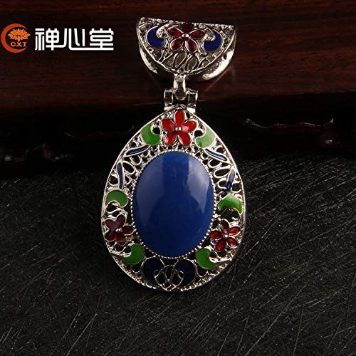 Mosaic Inlay Pendant - cangyin drip cloisonne imitation green gold mosaic beeswax necklace pendant chain sub sweater ([imitation silver inlay green-gold]