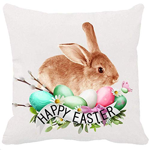 (CHERRY.1 Both Sided Printing Spring Greeting Happy Easter Gift Cute Funny Bunny Rabbit Nest Flowers Grass Color Eggs New Home Decorative Soft Cotton Throw Cushion Cover Pillow Case Square 18 Inches )