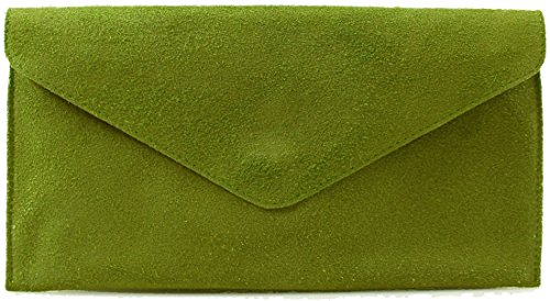 Purse Suede Over Handbag Bags Party Italian Bag Genuine Leather Olive Envelope Green Wedding Clutch Cross 58wPq