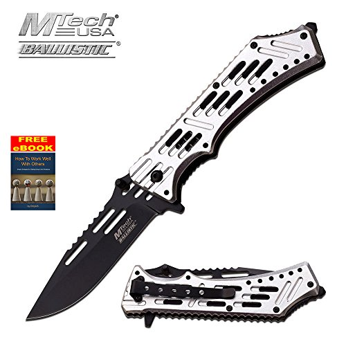 Mtech Silver Ballistic Series Spring Assist Assisted Knife Knives #A932SL + free eBook by OnlyUS - Edge Silver Aluminum Handle Plain