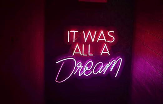 "It Was All A Dream White Acrylic Neon Sign 14/""x7/"" Glass Artwork Light Decor Lamp"