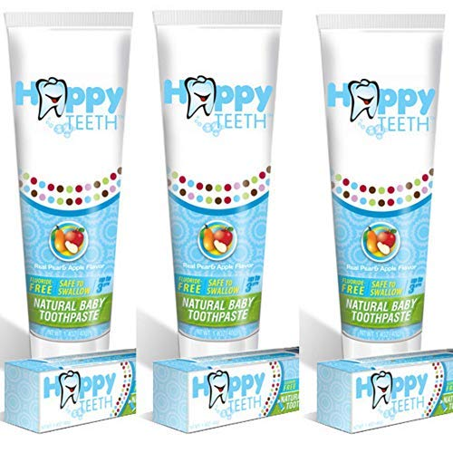 Happy Teeth Natural Baby and Toddler Toothpaste, Fluoride Free and Sulfate Free, Pear Apple Flavor, No Preservatives…