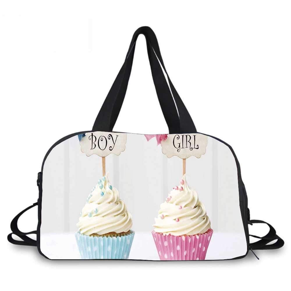 Gender Reveal Personality Travel Bag,Boy and Girl with Cupcakes Yummy Chocolate Celebration Theme for Travel Airport,One_Size by YOLIYANA