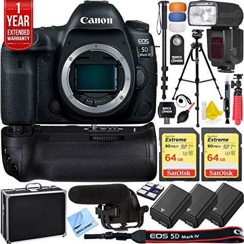 Canon 5D Mark IV EOS Full Frame DSLR Camera Triple Battery & Battery Grip Complete Video Recording Bundle - 2018 Beach Camera 24 Piece Value Bundle