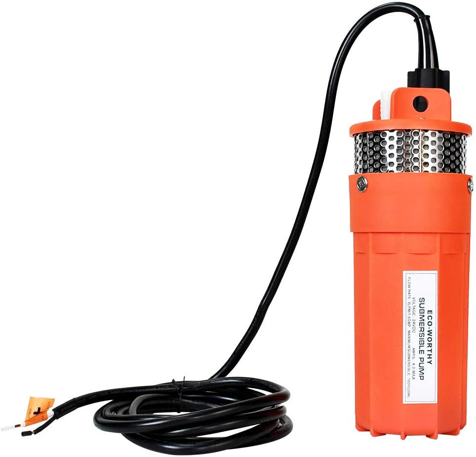 ECO-WORTHY - Bomba sumergible de corriente continua para pozo profundo (24 V, sumergible), para granja o rancho