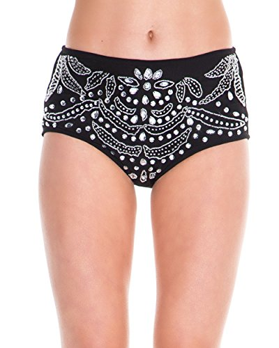 iHeartRaves Black Paisley Crystal Rhinestone Queen High Waisted Rave Shorts (Medium) Front Cheeky Shorts