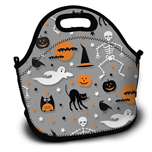 SARA NELL Neoprene Lunch Bag Insulated Halloween Party Funny Hipster Dancing Characters Lunch Tote Bags Lunchbox Handbag with Adjustable Shoulder Strap for Work School Outdoor Picnic]()