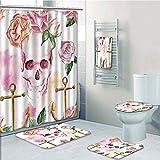 Bathroom 5 Piece Set shower curtain 3d print Multi Style,Skull,Nautical Anchor With Victorian Roses Peonies Vintage Art Decor Print,White Pink Brown Green,Bath Mat,Bathroom Carpet Rug,Non-Slip,Bath To