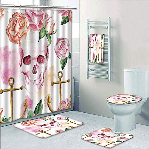 Bathroom 5 Piece Set shower curtain 3d print Multi Style,Skull,Nautical Anchor With Victorian Roses Peonies Vintage Art Decor Print,White Pink Brown Green,Bath Mat,Bathroom Carpet Rug,Non-Slip,Bath To by iPrint