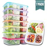 no bpa microwave bento - Meal Prep Containers 3 Compartment - Food Storage Containers with Lids , Thick | BPA Free | Reusable Bento Lunch Box - More Durable lunch containers - for Portion Control 21 Day Fix [7-Pack]